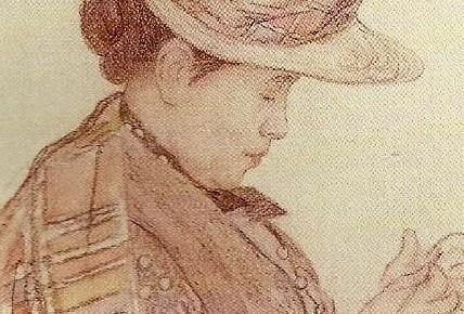 Hilda Bergöö som Carl Larsson porträtterade henne.